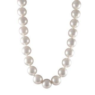 Luxiro Sterling Silver Matte White 16-mm Shell Pearl Strand Necklace