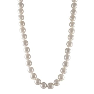 Luxiro Sterling Silver Matte White Shell Pearl Strand Necklace