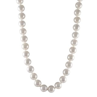 Luxiro Sterling Silver Shiny White Shell Pearl Strand Necklace