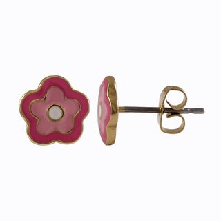 Link to Luxiro Gold Finish Children's Pink Enamel Flower Stud Earrings Similar Items in Children's Jewelry