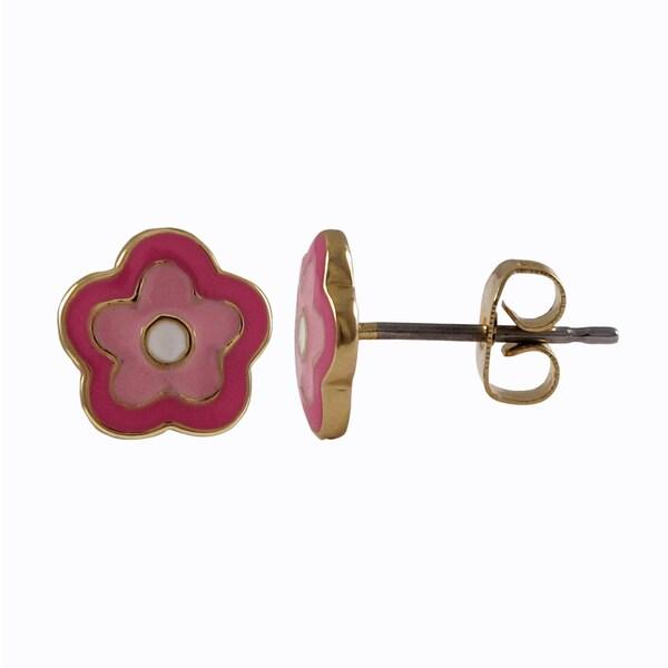 Luxiro Gold Finish Children's Pink Enamel Flower Stud Earrings. Opens flyout.