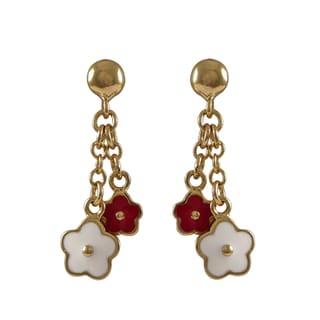 Luxiro Gold Finish Children's Multi-color Enamel Flower Dangle Earrings