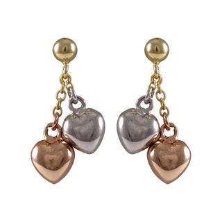 Luxiro Tri-color Gold Finish Children's Puffy Hearts Dangle Earrings