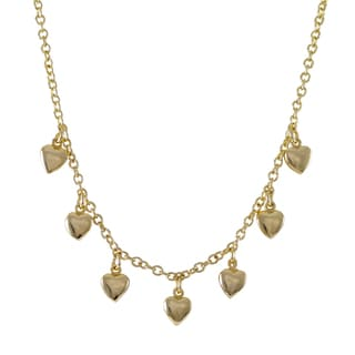 Luxiro Gold Finish Children's Flat Hearts Charm Necklace