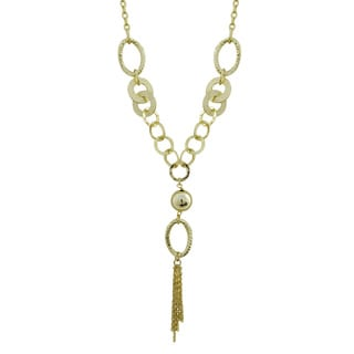Luxiro Gold Finish Hammered Circles Tassel Necklace