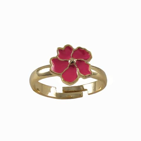 Luxiro Gold Finish Children's Pink Enamel Flower Adjustable Ring