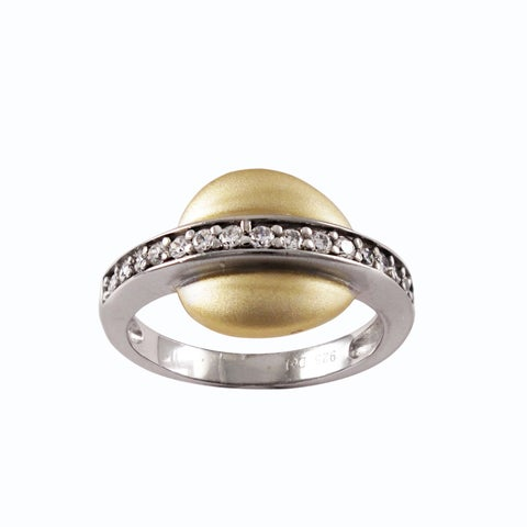 Luxiro Sterling Silver Two-tone Cubic Zirconia Right Hand Ring