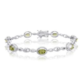 Platinum Overlay 4ct Oval-cut Peridot Diamond Accent Halo Bracelet