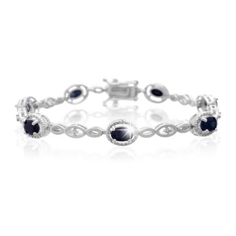 Platinum Over Brass 4 1/2 TGW Oval-cut Sapphire Diamond Accent Halo Bracelet