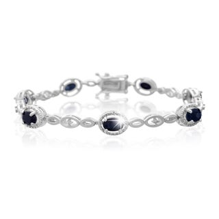 Platinum Overlay 4 1/2ct Oval-cut Sapphire Diamond Accent Halo Bracelet