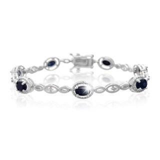 Platinum Over Brass 4 1/2 TGW Oval-cut Sapphire Diamond Accent Halo Bracelet