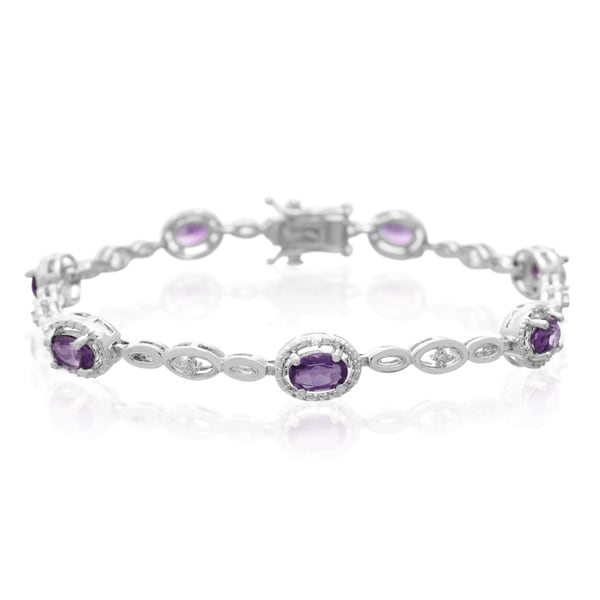 Platinum Over Brass 3 TGW Oval-cut Amethyst Diamond Accent Halo Bracelet