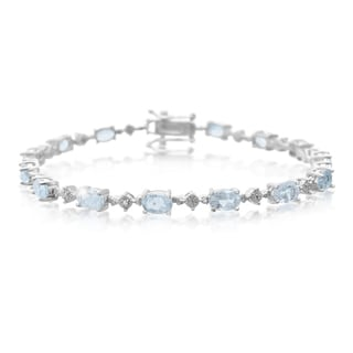 Platinum Overlay 7 1/2ct Blue Topaz Diamond Accent Bracelet