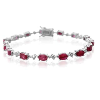 Platinum Overlay 9 3/4ct Carat Ruby Diamond Accent Bracelet