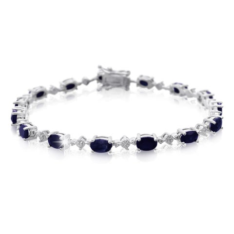 Platinum Over Brass 9 3/4 TGW Sapphire and Diamond Accent Bracelet