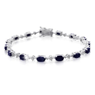 Platinum Overlay 9 3/4ct Sapphire and Diamond Accent Bracelet