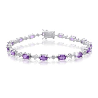 Platinum Over Brass 6 3/4 TGW Amethyst and Diamond Accent Bracelet