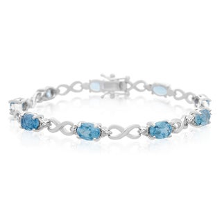 Platinum Overlay 9ct Blue Topaz Diamond Accent Bracelet