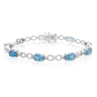 Platinum Over Brass 9 TGW Blue Topaz Diamond Accent Bracelet