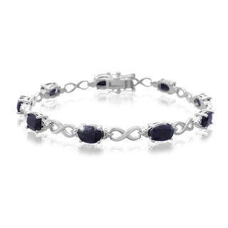 Platinum Overlay 9ct Sapphire and Diamond Accent Bracelet