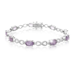 Platinum Over Brass 7 TGW Amethyst Diamond Accent Bracelet