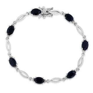 Platinum Over Brass 7 TGW Sapphire and Diamond Accent Bracelet