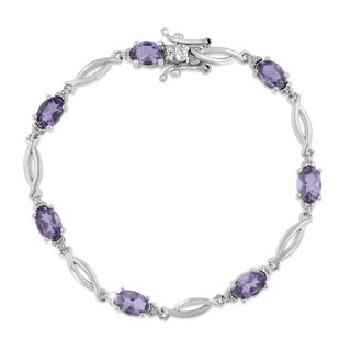 Platinum Overlay 5 1/2ct Amethyst and Diamond Accent Bracelet