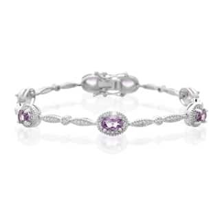Platinum Over Brass 3 TGW Oval-ct Amethyst Diamond Accent Bracelet|https://ak1.ostkcdn.com/images/products/10327297/P17438091.jpg?impolicy=medium