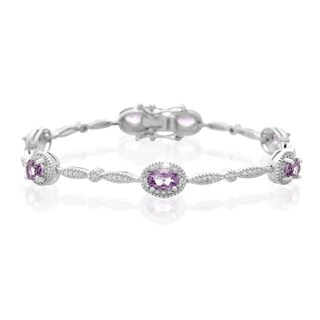 Platinum Over Brass 3 TGW Oval-ct Amethyst Diamond Accent Bracelet
