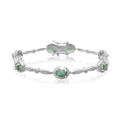 Platinum Over Brass 3 1/2 TGW Oval-cut Emerald Diamond Accent Bracelet