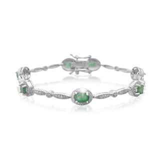 Platinum Over Brass 3 1/2 TGW Oval-cut Emerald Diamond Accent Bracelet