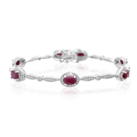 Platinum Over Brass 4 1/2 TGW Oval-cut Ruby Diamond Accent Bracelet