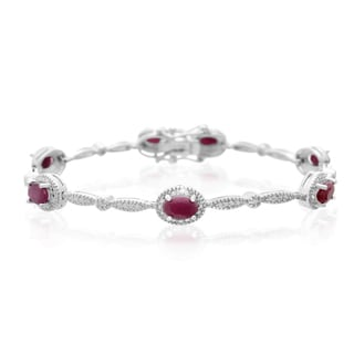 Platinum Overlay 4 1/2ct Oval-cut Ruby Diamond Accent Bracelet
