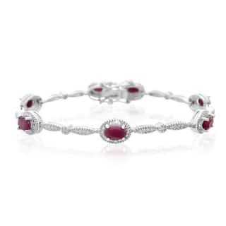 Platinum Over Brass 4 1/2 TGW Oval-cut Ruby Diamond Accent Bracelet|https://ak1.ostkcdn.com/images/products/10327305/P17438093.jpg?impolicy=medium