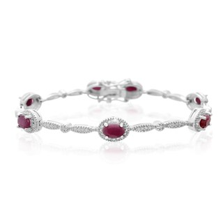 Platinum Over Brass 4 1/2 TGW Oval-cut Ruby Diamond Accent Bracelet