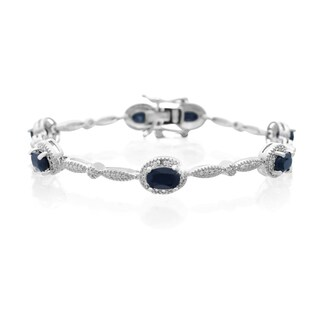 Platinum Over Brass 4 1/2 TGW Oval-cut Sapphire and Diamond Accent Bracelet