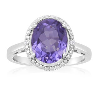 Sterling Silver 3 TGW Oval-cut Created Tanzanite Diamond Accent Halo Ring - Blue