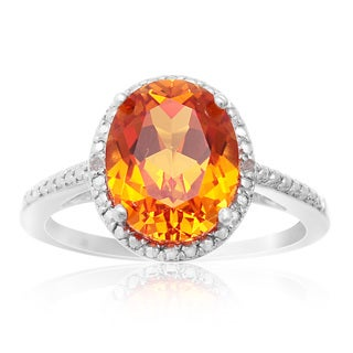 Sterling Silver 2 3/4ct Oval-cut Created Padparadscha Sapphire Diamond Accent Halo Ring