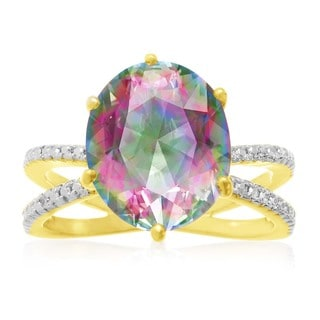 Gold Overlay 4 1/2ct Oval-cut Mystic Topaz Diamond Accent Ring