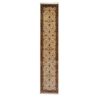 Herat Oriental Pakistani Hand-knotted Tabriz Ivory/ Red Wool Rug (2'7 x 12'5)