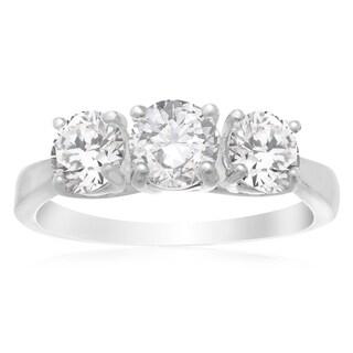 Platinum Overlay 1 1/2ct Cubic Zirconia 3-stone Ring