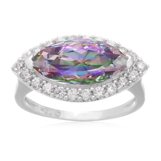 Platinum Over Brass 4ct Marquise-cut Mystic Topaz and Cubic Zirconia Ring