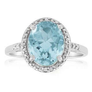 Platinum Over Brass 3 TGW Oval-cut Blue Topaz Diamond Accent Ring