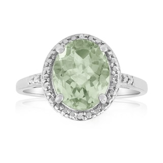 Platinum Overlay 2 4/5ct Oval-cut Green Amethyst Diamond Accent Ring