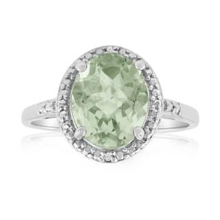 Platinum Over Brass 2 4/5 TGW Oval-cut Green Amethyst Diamond Accent Ring|https://ak1.ostkcdn.com/images/products/10327335/P17438135.jpg?impolicy=medium
