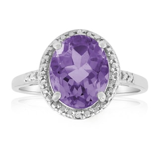 Platinum Overlay 2 1/3ct Oval-cut Amethyst Diamond Accent Ring