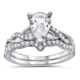 Noori 14k White Gold 2/5ct TDW Diamond and Pear-cut White Sapphire Engagement Ring Set (F-G, SI1-SI-2)