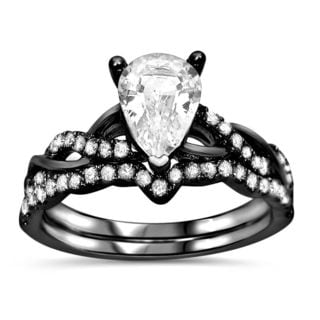 Noori 14kBlack Rhodium Gold 2/5ct TDW Diamond and Pear-cut White Sapphire Engagement Ring Set (F-G,