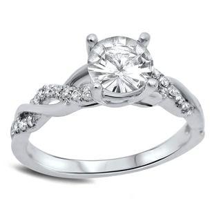 Noori 14k White Gold 1/5ct TDW Diamond and Round-cut White Sapphire Engagement Ring (G-H, SI1-SI2)