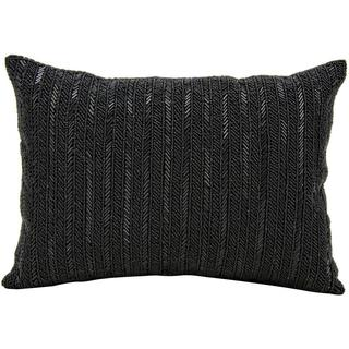 Mina Victory Beaded Stripes Black 10 x 14-inch Throw Pillow by Nourison